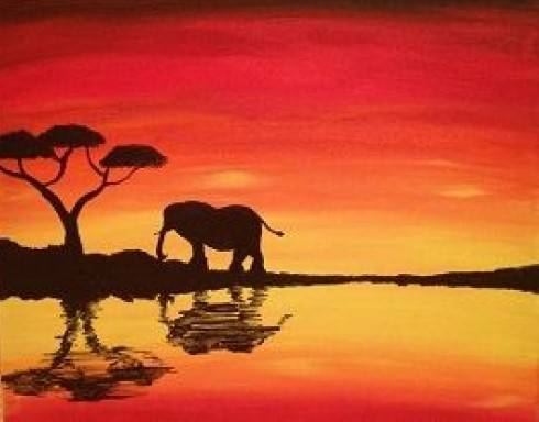A African Sunset 1 paint nite project by Yaymaker