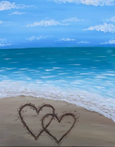 A Two Hearts on the Beach paint nite project by Yaymaker