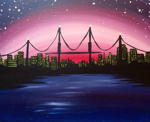 A City Bridge at Dusk paint nite project by Yaymaker