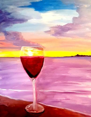 A Red Wine Sunset paint nite project by Yaymaker
