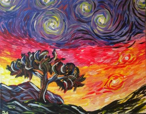 A Impressionist Tree and Sky paint nite project by Yaymaker
