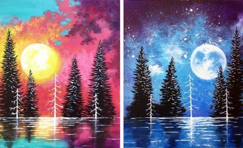 A Moonrise And Sunset Lake Partner Painting paint nite project by Yaymaker