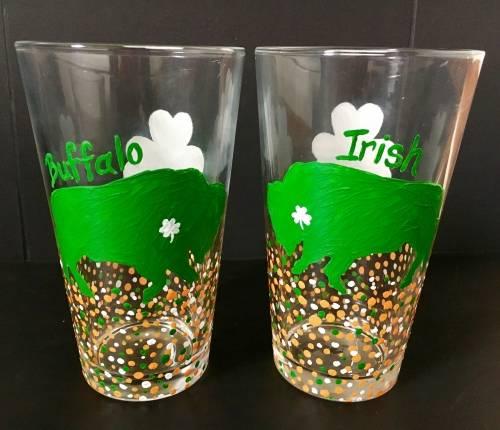A Buffalo Irish Pint Glasses paint nite project by Yaymaker