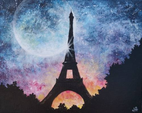 A Night In Paris paint nite project by Yaymaker