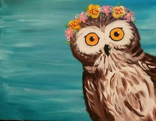 A PeekaWHO Owl  Spring paint nite project by Yaymaker