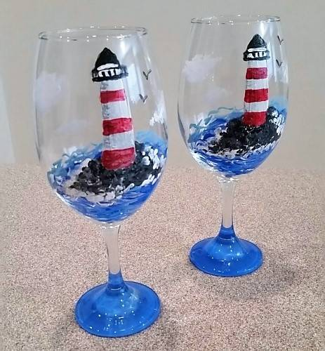 A Lighthouse Wine Glasses paint nite project by Yaymaker