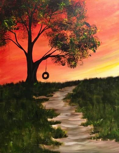 A Sunrise Swing paint nite project by Yaymaker