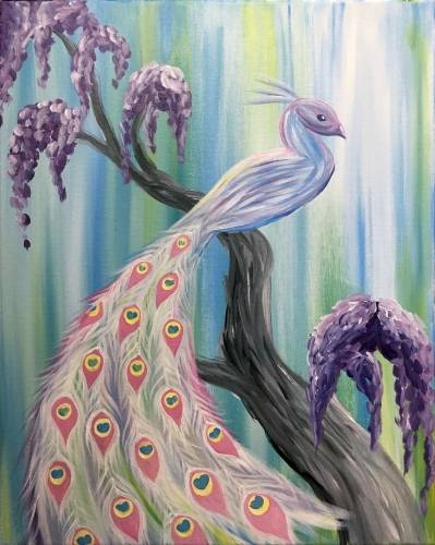 A Serene Peacock paint nite project by Yaymaker