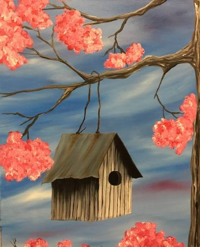 A Rustic Spring Birdhouse paint nite project by Yaymaker