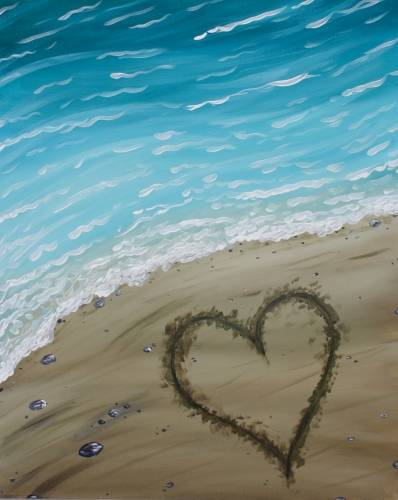 A A Heart in the Sand paint nite project by Yaymaker