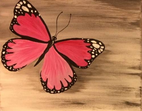 A Pretty Pink Butterfly paint nite project by Yaymaker
