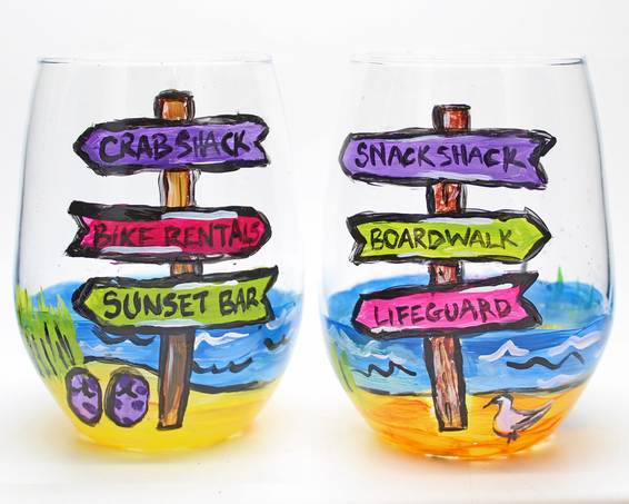 A Beachside Signs Stemless Wine Glasses paint nite project by Yaymaker