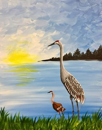 A Mom and Baby Crane paint nite project by Yaymaker