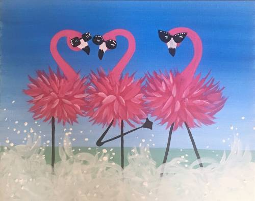 A Pink Glamingos paint nite project by Yaymaker