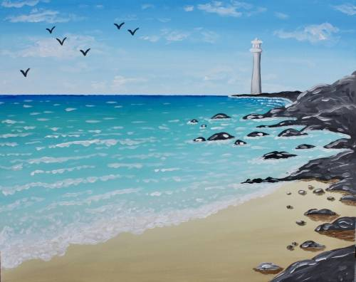 A Paradise on the Rocks paint nite project by Yaymaker