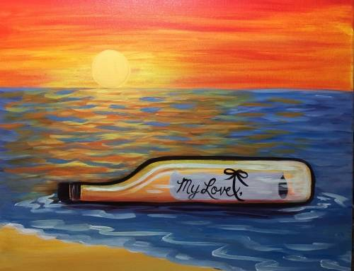 A Love Message in a Bottle paint nite project by Yaymaker