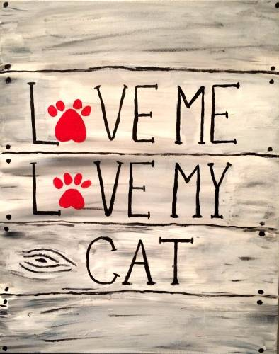 A Love Me Love My Cat paint nite project by Yaymaker