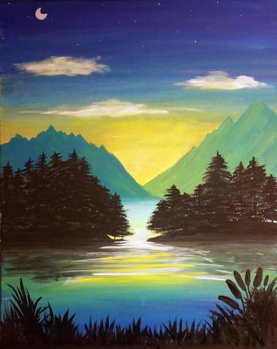 A Crisp Mountain Morning paint nite project by Yaymaker