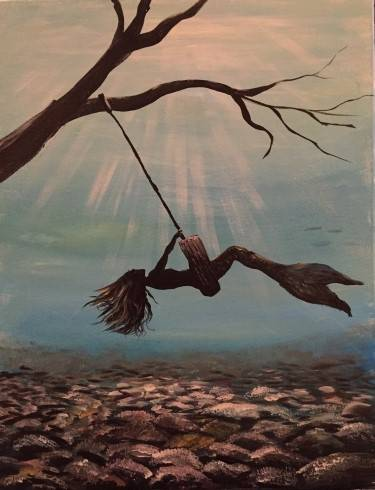 A Swinging Mermaid paint nite project by Yaymaker