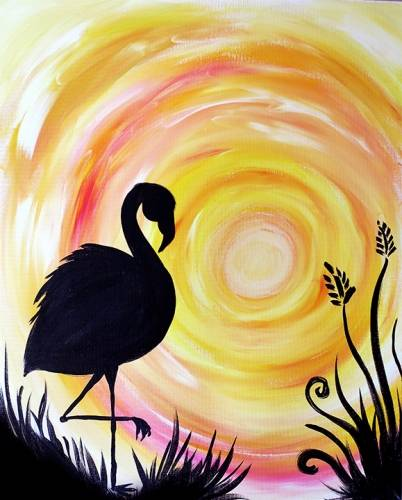 A Quiet Flamingo Sunrise paint nite project by Yaymaker