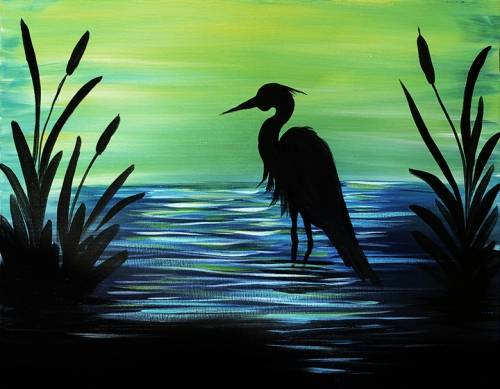A Quiet Heron Evening paint nite project by Yaymaker
