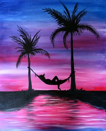 A Siesta by the Lagoon paint nite project by Yaymaker