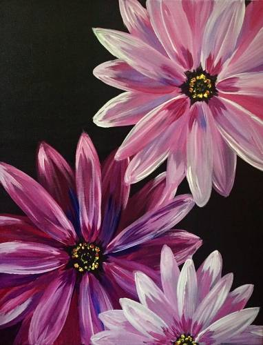 A Purple Daisy Blooms paint nite project by Yaymaker