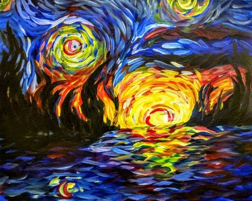 A Impressionist Sky and Burning Ocean paint nite project by Yaymaker
