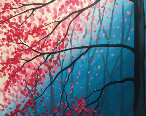 A Pink Blossom Blues paint nite project by Yaymaker