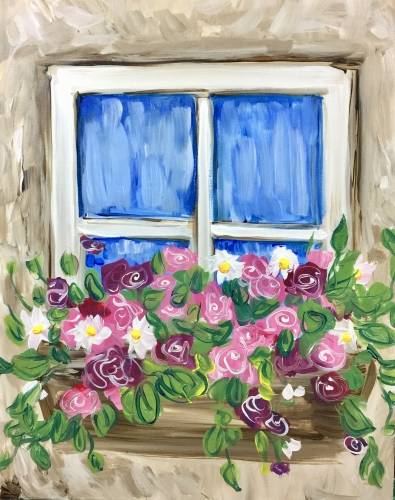 A Window Box Roses paint nite project by Yaymaker
