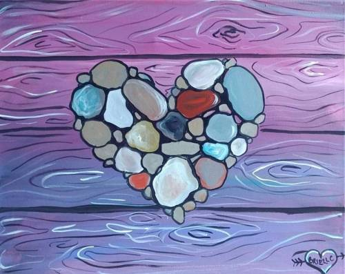 A Rock Nature Heart paint nite project by Yaymaker