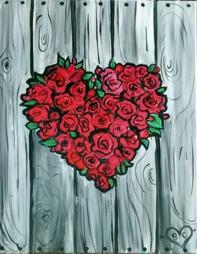 A Red Roses Nature Heart paint nite project by Yaymaker