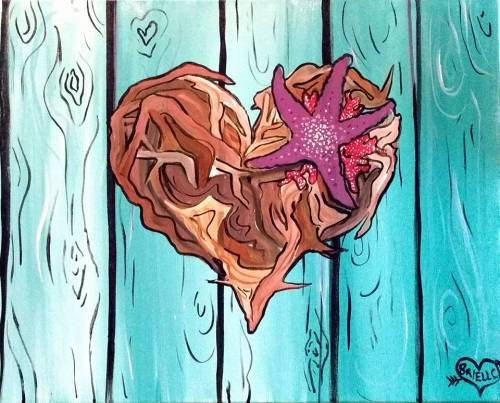 A Driftwood Beach Nature Heart paint nite project by Yaymaker