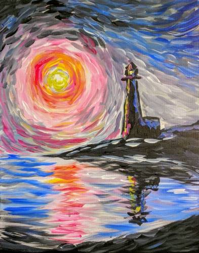 A Impressionist Sea with LIghthouse paint nite project by Yaymaker