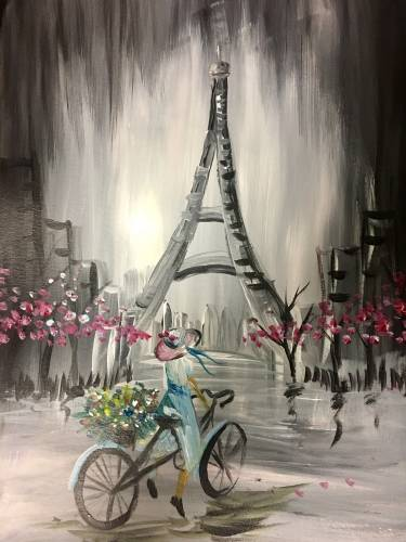 A Riding Bike Through Paris paint nite project by Yaymaker