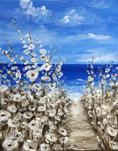 A Serene Beach Blossoms paint nite project by Yaymaker