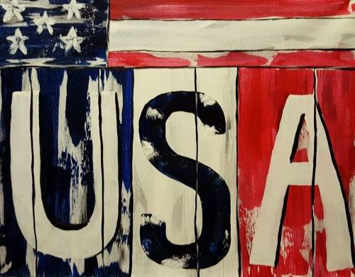 A USA on Boards paint nite project by Yaymaker