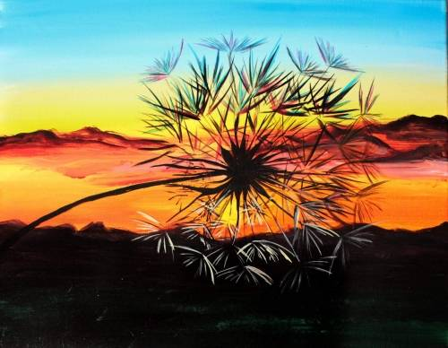 A Sunset Wishes paint nite project by Yaymaker