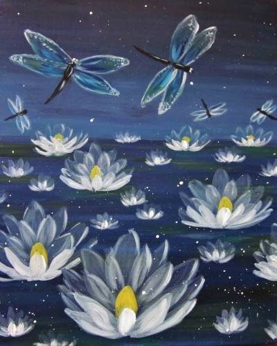 A Mystical Dragonflies and Lilies paint nite project by Yaymaker