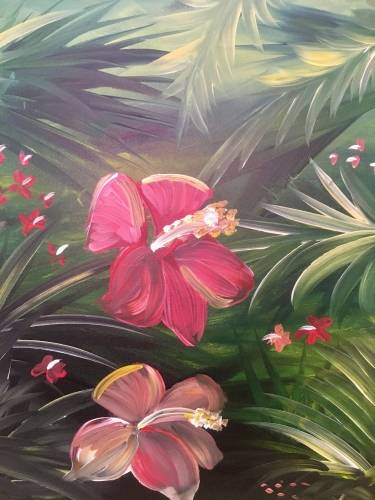 A Hibiscus in Palms paint nite project by Yaymaker