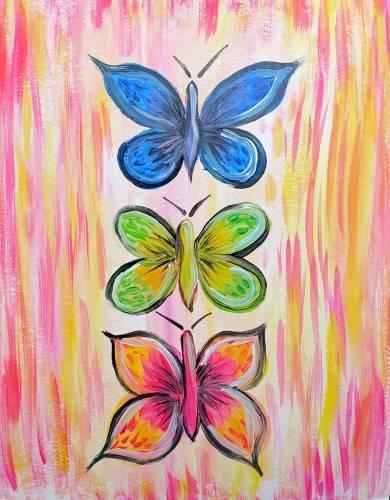 A 3 Little Butterflies paint nite project by Yaymaker