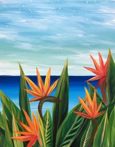 A Aloha Birds of Paradise paint nite project by Yaymaker