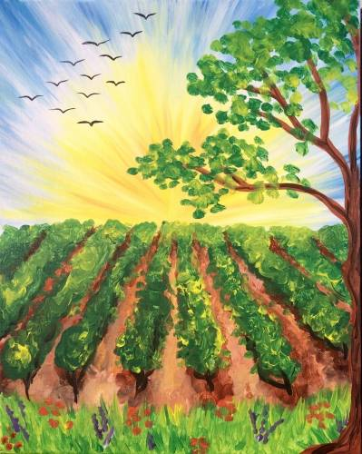 A Afternoon Vineyard ll paint nite project by Yaymaker
