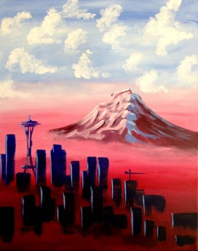 A Rainier Reigning at Sunrise paint nite project by Yaymaker
