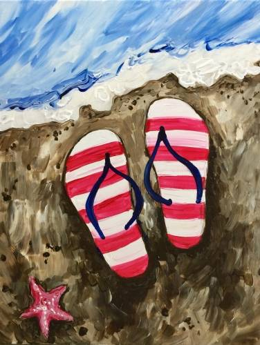 A Beachside Stars and Stripes paint nite project by Yaymaker
