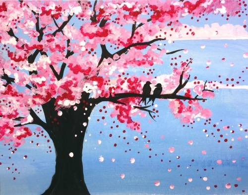 A Love Birds on Spring Cherry Blossom paint nite project by Yaymaker
