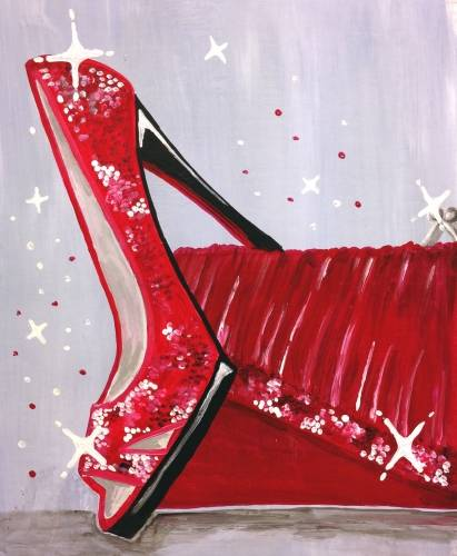 A Dance with Me Red Sparkling Shoes and Purse paint nite project by Yaymaker