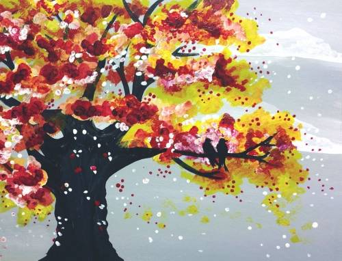 A Love Birds in Autumn Fall paint nite project by Yaymaker