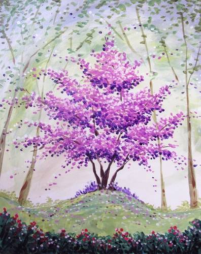 A The Seasoned Purple Blossom Tree paint nite project by Yaymaker