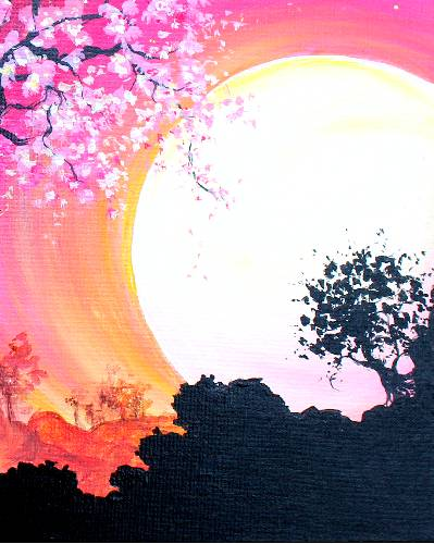 A Lone Tree In Moonlight paint nite project by Yaymaker